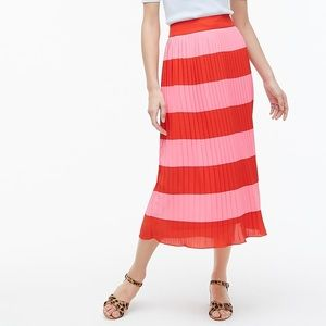 Colorblock striped pleated skirt